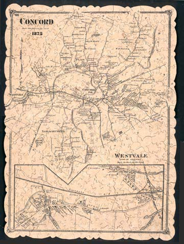 Jardin Puzzles Example Puzzle 1875 Map of Concord Massachusetts